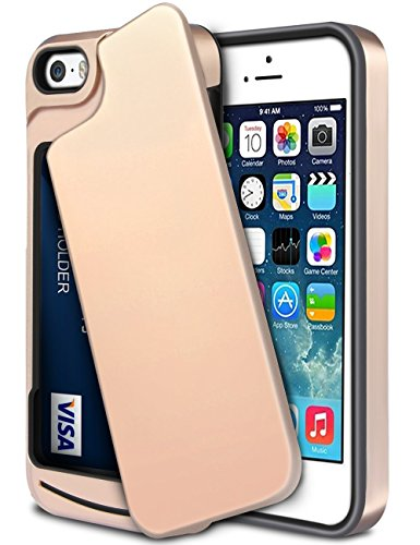 iPhone-5S-CaseiPhone-SE-CaseWollony-Slim-Fit-Hybrid-Dual-Layer-Armor-Protective-Back-Cover-iPhone-SE5S5-Wallet-Slide-Case-Anti-Scratch-Shockproof-ID-Credit-Card-Slot-Holder-Bumper-Rose-Gold