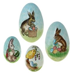 Paper Mache Ornaments Easter Eggs Decorations Centerpieces Set Of 4