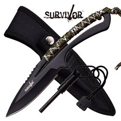 New Full Tang Survival Knife W/ Fire Starter Hk767Ca