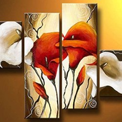 Sangu Gift 100% Hand-Painted Hot Selling Free Shipping Framed 4-Piece Lily In Two Colors-Red,White Oil Paintings Canvas Wall Art For Home Decoration(16X16Inchx2,12X32Inchx2)