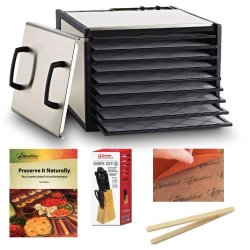 Excalibur 9 Tray Stainless Steel Electric Dryer Dehydrator With Plastic Trays + Preserve It Naturally Book + Paraflexx Premium Reusable Sheet 14X14 + Knife Set 7Pc With Pine Block + Bamboo Toast Tong - 6.5 Inch Long