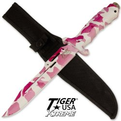 13 In Pink Camo Combat Hunting Knife Tux692Pca