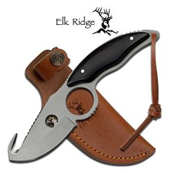 "Er-529Bw Elk Ltasudvm6 Ridge Er-529Bw Thm8Eoxq Fixed Blade Knife 7.7"" Overall Ayeuiu56 Hlbv23Rt Fixed Blade Knife7.7"" Overall3.5Mm Thickness Titanium Coating Full Tang Bladegut Hook Blade With Finger Ring And Wire Cut Fhlbb Logoblack Wood Xdubvt Handlehan"
