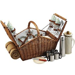 Picnic At Ascot Huntsman Basket For With Coffee Set And Blanket, Gazebo