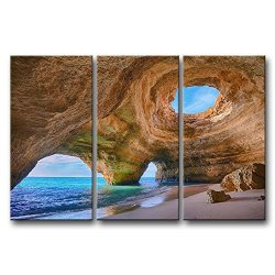 3 Panel Blue Wall Art Painting Algarve Caves Portugal Small Beach Big Caves Prints On Canvas The Picture Seascape Pictures Oil For Home Modern Decoration Print Decor For Kitchen