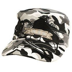 Summer Ladies Cool Fleur De Lis Dagger Military Cadet Castro Cap Hat Camo White