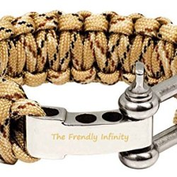"Hot Survival Bracelet,The Friendly Infinity Adjustable Premium Paracord Bracelet With Stainless Steel D Shackle Fire Starter And Sharp Eye Knife, Size Fits 7""-8"" (18-20 Cm) Wrists (Ba-Brown)"