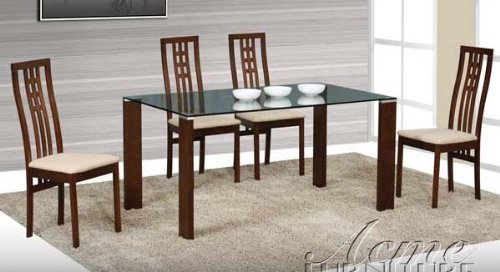 Image of 5pc Dining Table and Chairs Set with Glass Top in Espresso Finish (VF_Dinset-AM12635-12638)