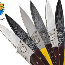 """Mb-092-Set-4 6"""" Trigger Assisted Folding Knives-Set Of Dvxux8Njo 8 Folding Knife Edge Sharp Steel Ytkbio Tikos567 Bgf 6"""" (Real Bone Handle) Xdtjw2Xfr Trigger Assisted Folding Knives- Set Of 8. Four Red Bone-Handled Knives Are Included In This Set. Get You"""