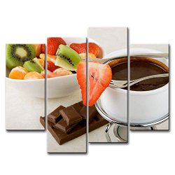 4 Piece Wall Art Painting Fondue Kiwi Strawberry Chocolate Pictures Prints On Canvas Food The Picture Decor Oil For Home Modern Decoration Print
