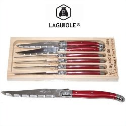 Jean Dubost Laguiole 6-Piece Steak Knives -Red