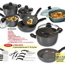 Stoneline - Pfoa Free Nonstick Stone Cookware - Recipe Master 12 Piece Set + Free 11 Piece Knife Set