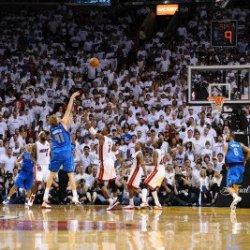 Dallas Mavericks V Miami Heat - Game Six, Miami, Fl - June 12: Dirk Nowitzki And Chris Bosh Photographic Poster Print By Garrett Ellwood, 8X12