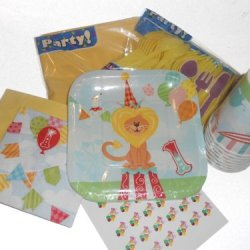 First Birthday Circus Party Supplies - Plates, Napkins, Silverware, Cups, Tablecover & Matching Kiss Labels Favors