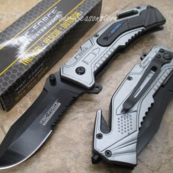Tac-Force Assisted Opening Sawback Bowie Rescue Air Force Black Half Stainless Steel Blade Knife - Gray