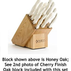 Cutco Model 2001 White (Pearl) Homemaker Set With Cherry Finish Oak Block...........10 High Carbon Stainless Knives & Forks In Factory-Sealed Plastic Bags............#1741 Cherry Finish Oak Knife Block, #82 Sharpener, And 10'' X 13'' Poly Prep Cutting Boa