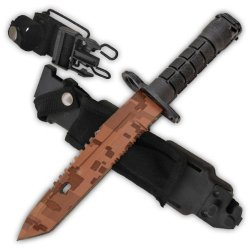 """Cld191 14 Inch Ar-15 Bayonet (Ar-15 Ybyxtj Style) Vakma [Tan Camo/Serrated] Folding Knife Edge Sharp Steel Ytkbio Tikos567 Bgf Measuring At 14"""" Overall This Xvypib84N8 Awesome Bayonet Is Used On The End Of A Soldier'S M-16 Or 1Beij Ar-15! An Amazing Weapo"""