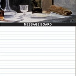 "Rikki Knighttm Claude Monet Art Still Life With Bottles And Knives Design 8"" X 10"" X 1/8 Hardboard Dry Erase Message Board With Magnet Strips On Back (Black Marker Included)"