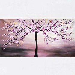 Xm Art-Charming Purple Plum Flower Palette Knife Landscape Oil Painting On Canvas Wall Art Deco Home Decoration(Unstretch And No Frame)