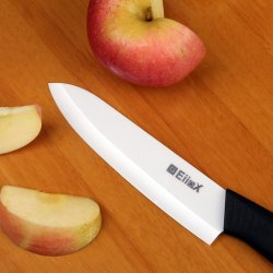 "Eiiox White Blade Black Handle 6"" Ceramic Chef Knife"