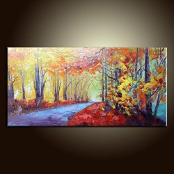 Knife Painting Collect Unframed Painting On Canvas Palette Knife Autumn River 10X20 In/25X50Cm