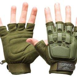 Valken V-Tac Half Finger Plastic Back Airsoft Gloves, Olive, Medium/Large