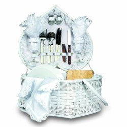 Picnic Time Wedding Heart Picnic Basket With Service For Two