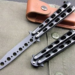 Black High Quality Butterfly Comb Dull Metal Balisong Trainer Enhanced Practice Trainer Training Tool 1Pc