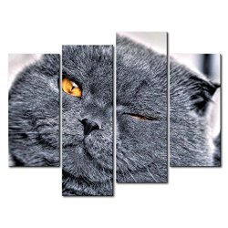 Black & White 4 Panel Wall Art Painting Winking Cat With Golden Eyes Pictures Prints On Canvas Animal The Picture Decor Oil For Home Modern Decoration Print For Living Room