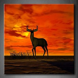 A Buck Standing At Attention In The Sunset Grass Shadow Wall Art Painting The Picture Print On Canvas Animal Pictures For Home Decor Decoration Gift (Stretched By Wooden Frame,Ready To Hang)