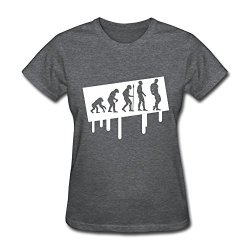 Women Graffiti Evolution Bodybuilding O Neck T-Shirt Size L Color Deepheather