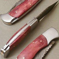 Custom Damascus Steel Folding Pocket Knife (Lock Back) C-27