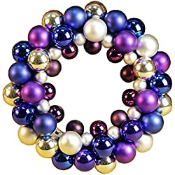 Colorful Balls Christmas Wreath Garland Ornaments Arcades Christmas Decorations Ball Ring (silver purple)