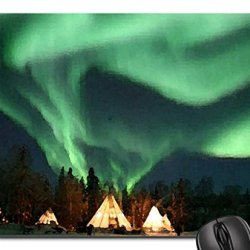 Northern Lights, Yellow Knife, Canada. Mouse Pad, Mousepad (Sky Mouse Pad, Watercolor Style)