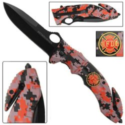 Ao Fire Fighter Rescue Knife--Red Camo