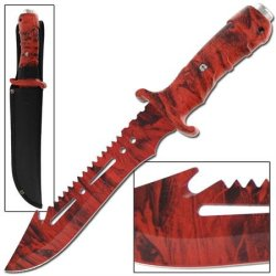 Ultimate Extractor Bowie Survival Red Camo Knife