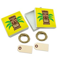 Tropical Tiki Head White Gift Boxes Set Of 2