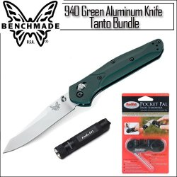 Benchmade Knife 940 Green Aluminum Handle Tanto Plain Edge With Knife Sharpener And Fenix Flahslight