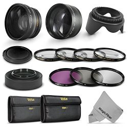 52Mm Starter Accessory Kit For Nikon Dslr (D3300 D3200 D5300 D5200 D5100 D5000 D3100 D3000 D90 D80) - Includes: 0.43X Wide Angle & 2.2X Telephoto High Definition Lenses + Vivitar Filter Kit (Uv, Cpl, Fld) + Vivitar Macro Close-Up Set + Collapsible Lens Ho