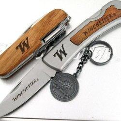 Winchester 3 Piece Set Swiss Tool Style & Lockback Folder Knife & Key Chain In Gift Tin