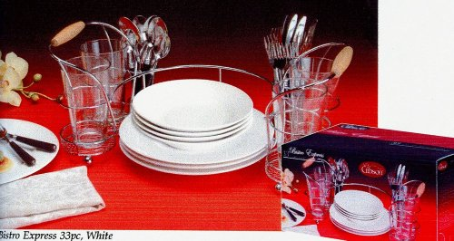 Image of 33pc Gibson Buffet Rack Bistro Express White Dinnerware Set (VF_GBSN52379-33)