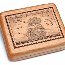 "5X6"" Box With Black And Burlwood Knife - King Buck Stamp"