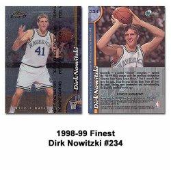 Topps Finest Dallas Mavericks Dirk Nowitzki 1998-99 Rookie Card