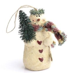 Set Of 4 Antiqued Paper Clay Holiday Snowmen For Christmas Decorating And Embellishing
