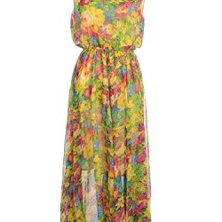 Anna-Kaci S/M Fit Multicoloured Splash Floral Print Knife Waist Pleat Maxi Dress