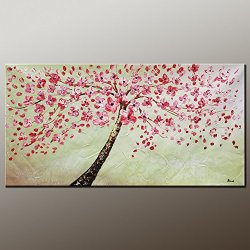 Fine Art Palette Knife Unframed Wall Art Deco Home Decoration With Landscape Tree 10X20 In/25X50Cm