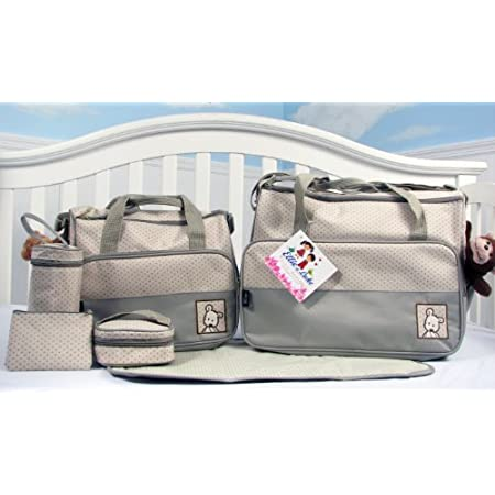 This Great 8 pieces Fashion diaper bag set for stylish Mom. Made of 100% Nylon, easy to wipe clean. 1. Extra roomy main compartment with multiple pockets ,Reliable zip-top closure with carrying strap, 2. Mid-Size Tote bag with zipper closure and shou...