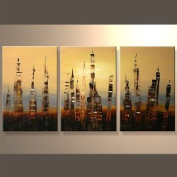 Modern Abstract Cityscape On Grouped And Stretched Canvas Ready To Hang Oil Painting