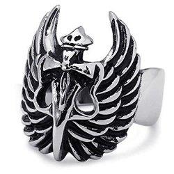 Kstyle Jewelry Vintage Stainless Steel Biker Cross Dagger Wings Mens Ring, Black Silver,R859 (12)