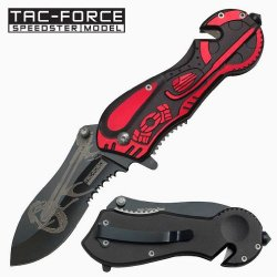 """3.25"""" """"Chopper"""" Spring Assisted Rescue Knife - Red & Black"""